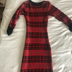 Red Holiday Christmas Sweater Dress